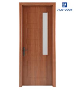 GR301 - Cửa gỗ nhựa composite Austdoor khắc pano kính ngang