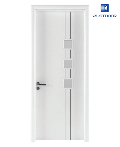 LA401 – Cửa gỗ nhựa composite Austdoor Chỉ nhôm pano kính
