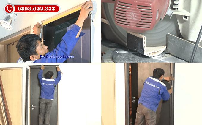 Lắp nẹp cửa vào khuôn cửa - Thi công lắp đặt cửa gỗ nhựa