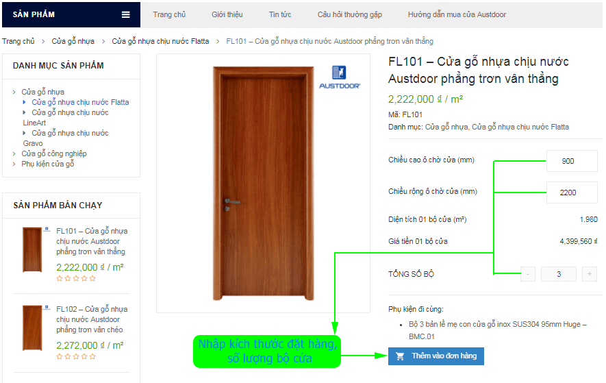 Giao diện sản phẩm trên AustdoorHanoi.vn | Báo giá cửa gỗ Huge