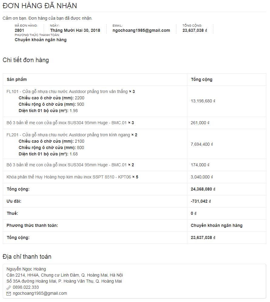 Giao diện xác nhận đơn hàng trên AustdoorHanoi.vn | Báo giá cửa gỗ Huge