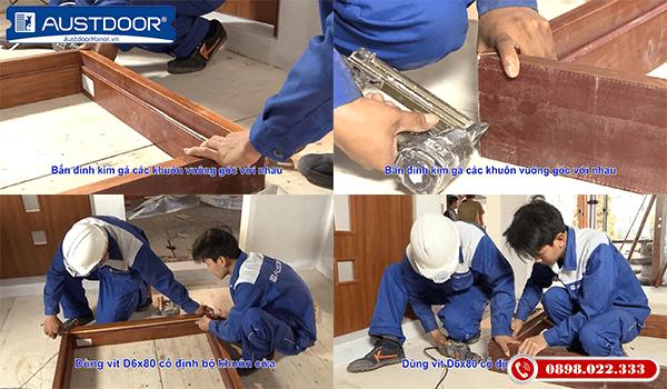Bước 2 thi công và lắp đặt cửa gỗ công nghiệp Huge Austdoor