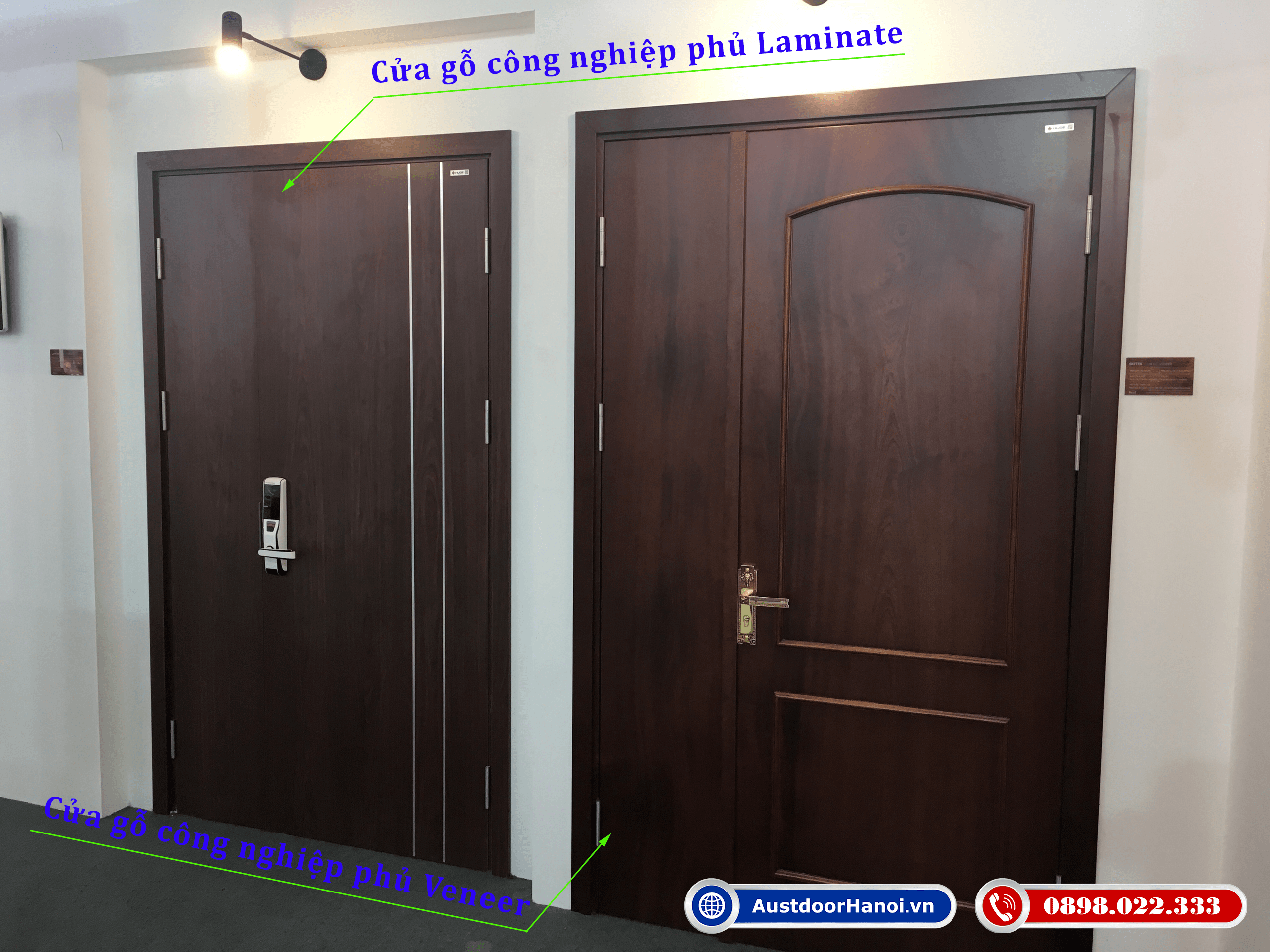 Cửa gỗ công nghiệp Veneer và cửa gỗ công nghiệp Laminate - Huge-Austdoor