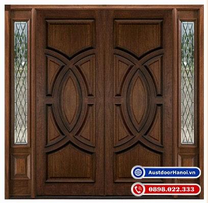 Mẫu cửa gỗ 4 cánh đẹp nhất gỗ óc chó hiện đại