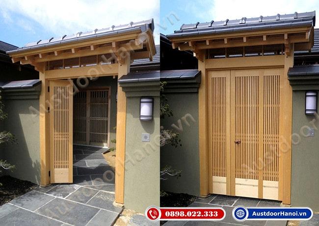 mẫu cửa gỗ 4 cánh đẹp nhất phong cách Nhật Bản