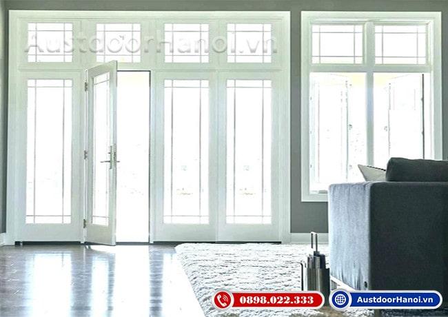 mẫu cửa gỗ 4 cánh đẹp nhất phong cách tân cổ điển pano kính