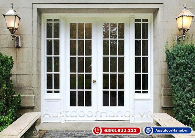 mẫu cửa gỗ 4 cánh đẹp nhất sơn trắng bệt phong cách tân cổ điển