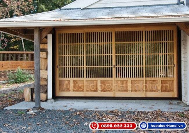 mẫu cửa gỗ 4 cánh Nhật Bản phong cách Á Đông