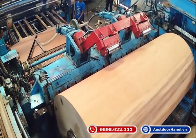 Bước 2 quy trình bóc tách cây gỗ thành veneer mỏng