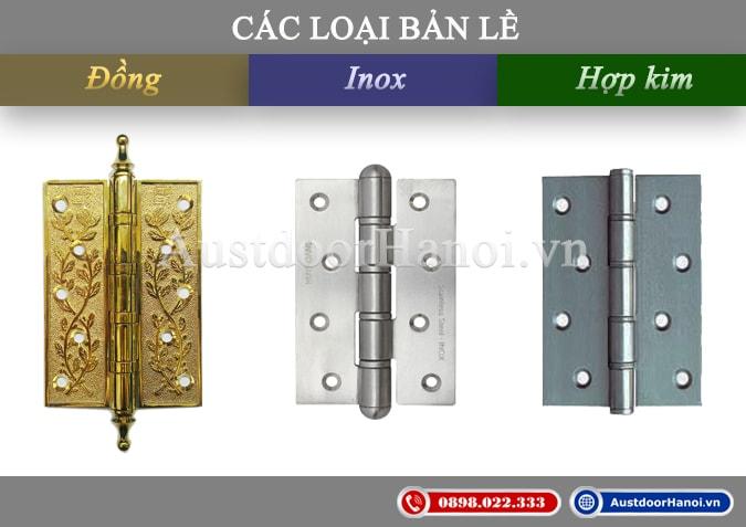 Các loại bản lề cửa gỗ inox - đồng - thép Huy Hoàng và Việt Tiệp