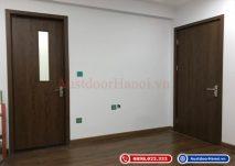 Cửa gỗ nhựa composite lắp cho căn hộ chung cư đồng bộ nhà vệ sinh, phòng ngủ