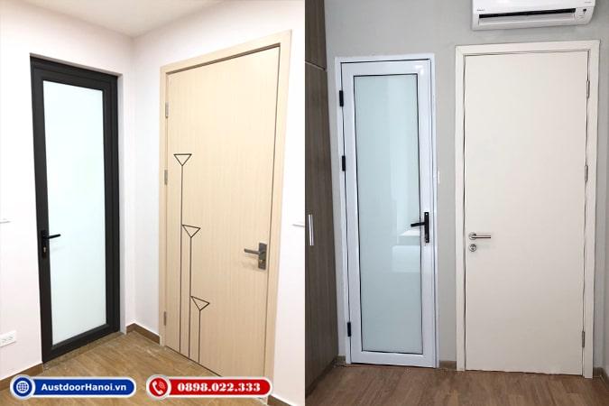 Cửa nhựa lõi thép, cửa nhôm kính hệ so sánh với cửa gỗ nhựa lắp cho nhà vệ sinh, phòng ngủ