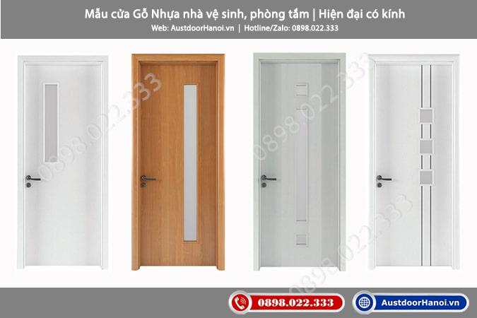 Mẫu cửa nhựa WC nhà vệ sinh, phòng tắm, toilet có kính