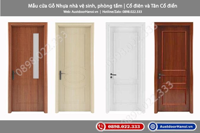 Mẫu cửa gỗ nhựa nhà vệ sinh, WC, Toilet, phòng tắm phong cách Cổ điển, Tân Cổ điển