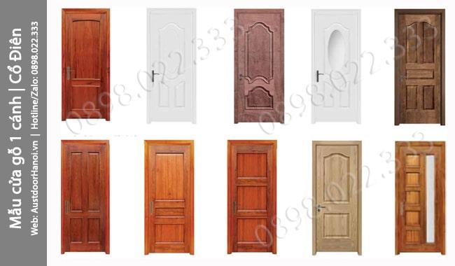 Mẫu cửa gỗ phòng ngủ 1 cánh Cổ điển sang trọng