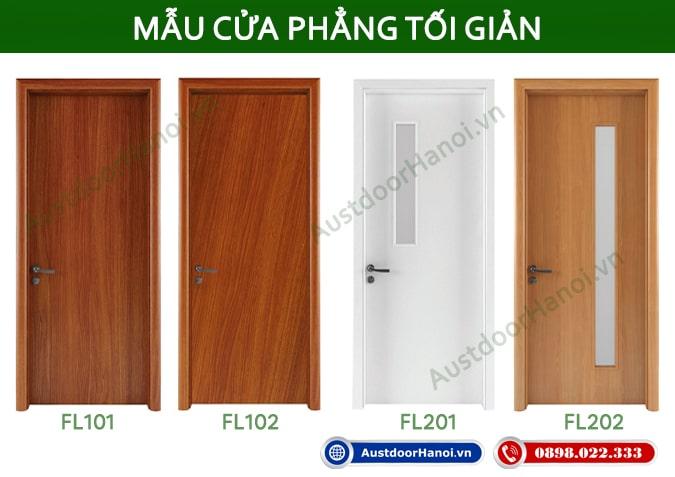 Các mẫu cửa gỗ thông phòng ngủ Hiện đại phẳng Austdoor - Huge