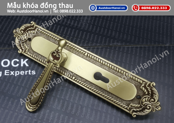 Mẫu khóa cửa gỗ tay gạt đồng thau cao cấp