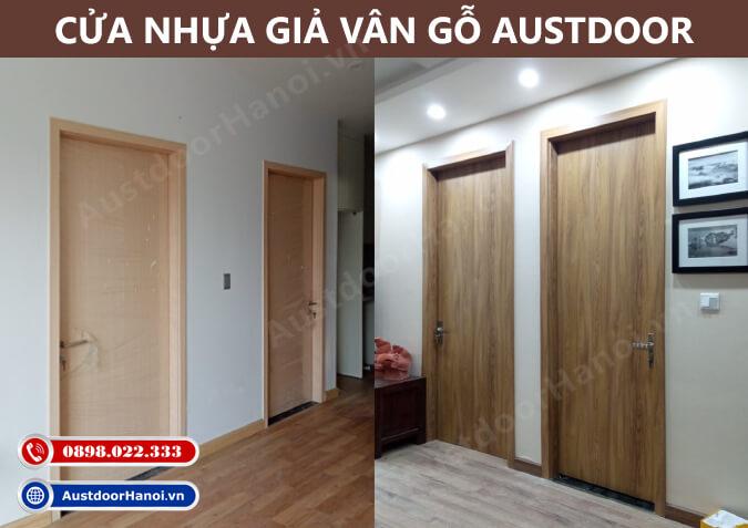 mẫu cửa gỗ nhựa giả vân gỗ sồi tự nhiên đẹp austdoor huge